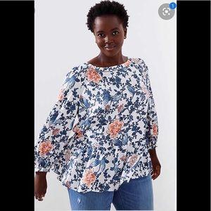 LOFT floral cutout peplon blouse blue size L